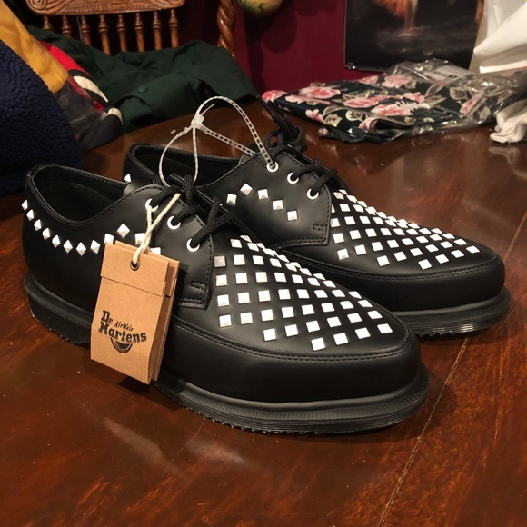 dr martens willis white leather studded